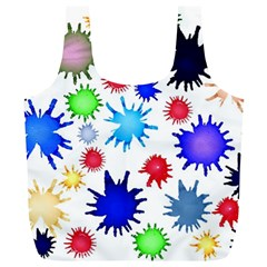 Inks Drops Black Colorful Paint Full Print Recycle Bag (xl)