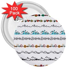 Decoration Element Style Pattern 3  Buttons (100 Pack)