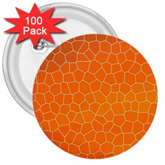 Orange Mosaic Structure Background 3  Buttons (100 Pack)