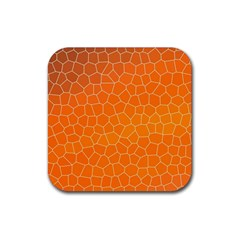 Orange Mosaic Structure Background Rubber Coaster (square)