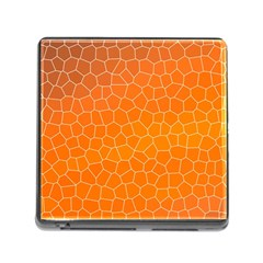 Orange Mosaic Structure Background Memory Card Reader (square 5 Slot)