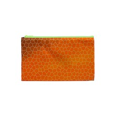 Orange Mosaic Structure Background Cosmetic Bag (xs) by Pakrebo
