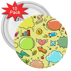 Cute Sketch Child Graphic Funny 3  Buttons (10 Pack)