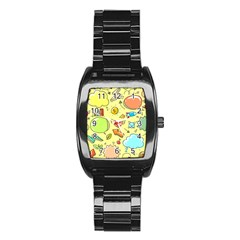 Cute Sketch Child Graphic Funny Stainless Steel Barrel Watch