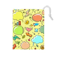 Cute Sketch Child Graphic Funny Drawstring Pouch (large)