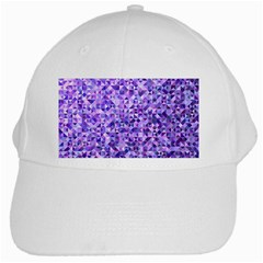 Purple Triangle Background White Cap by Jojostore