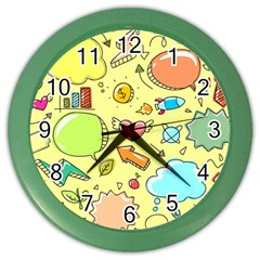 Cute Sketch Child Graphic Funny Color Wall Clock