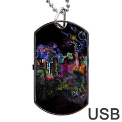 Grunge Paint Splatter Splash Ink Dog Tag Usb Flash (one Side) by Pakrebo