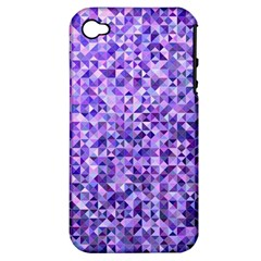 Purple Triangle Background Apple Iphone 4/4s Hardshell Case (pc+silicone) by Jojostore