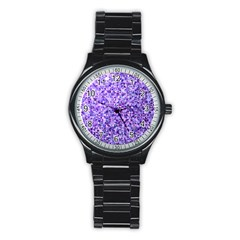 Purple Triangle Background Stainless Steel Round Watch