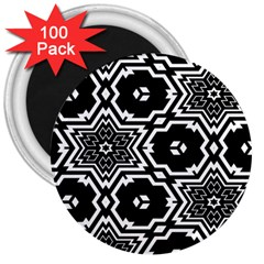 Black And White Pattern Background Structure 3  Magnets (100 Pack)