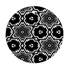Black And White Pattern Background Structure Round Ornament (two Sides)