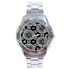 Black And White Pattern Background Structure Stainless Steel Analogue Watch