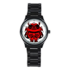 Oni Warrior Samurai Graphics Stainless Steel Round Watch