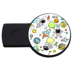 Sketch Cartoon Space Usb Flash Drive Round (2 Gb)