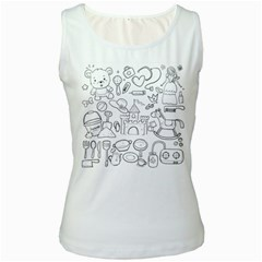 Baby Hand Sketch Drawn Toy Doodle Women s White Tank Top