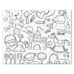 Baby Hand Sketch Drawn Toy Doodle Rectangular Jigsaw Puzzl