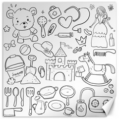 Baby Hand Sketch Drawn Toy Doodle Canvas 12  X 12