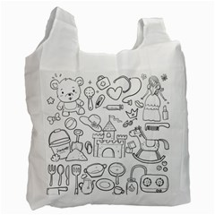 Baby Hand Sketch Drawn Toy Doodle Recycle Bag (two Side) by Pakrebo