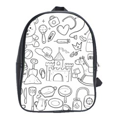 Baby Hand Sketch Drawn Toy Doodle School Bag (large)
