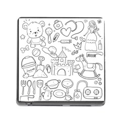 Baby Hand Sketch Drawn Toy Doodle Memory Card Reader (square 5 Slot) by Pakrebo