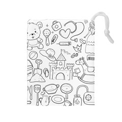 Baby Hand Sketch Drawn Toy Doodle Drawstring Pouch (large)