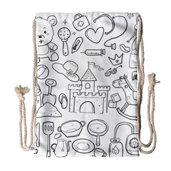 Baby Hand Sketch Drawn Toy Doodle Drawstring Bag (large) by Pakrebo