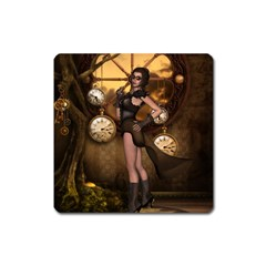Wonderful Steampunk Lady Square Magnet