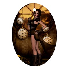 Wonderful Steampunk Lady Oval Ornament (two Sides)