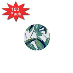Plants Leaves Tropical Nature 1  Mini Buttons (100 Pack)  by Alisyart