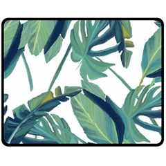 Plants Leaves Tropical Nature Fleece Blanket (medium)  by Alisyart