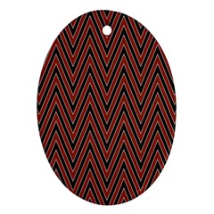 Pattern Chevron Black Red Oval Ornament (two Sides)