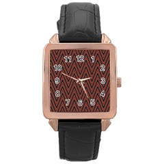 Pattern Chevron Black Red Rose Gold Leather Watch