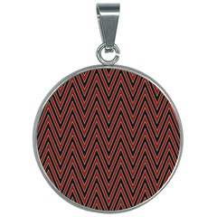 Pattern Chevron Black Red 30mm Round Necklace by Alisyart