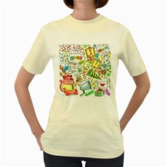 Doodle New Year Party Celebration Women s Yellow T Shirt