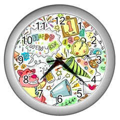 Doodle New Year Party Celebration Wall Clock (silver) by Pakrebo