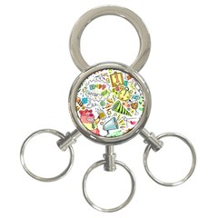 Doodle New Year Party Celebration 3 Ring Key Chains