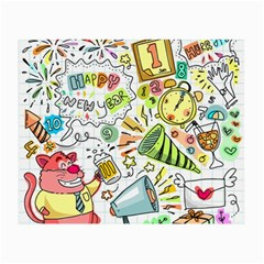 Doodle New Year Party Celebration Small Glasses Cloth by Pakrebo