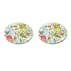 Doodle New Year Party Celebration Cufflinks (oval)