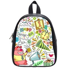 Doodle New Year Party Celebration School Bag (small)