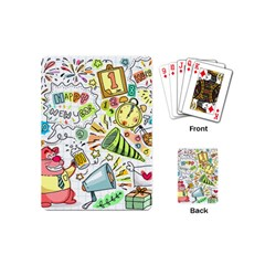Doodle New Year Party Celebration Playing Cards (mini)