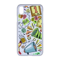 Doodle New Year Party Celebration Apple Iphone Xr Seamless Case (white)