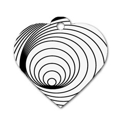 Spiral Line Dog Tag Heart (one Side)