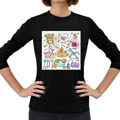 Baby Equipment Child Sketch Hand Women s Long Sleeve Dark T Shirt