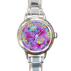 Tropical Pink Leaves Round Italian Charm Watch by Jojostore