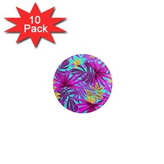 Tropical Pink Leaves 1  Mini Magnet (10 Pack)