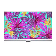 Tropical Pink Leaves Business Card Holder