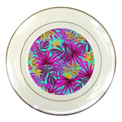 Tropical Pink Leaves Porcelain Plates
