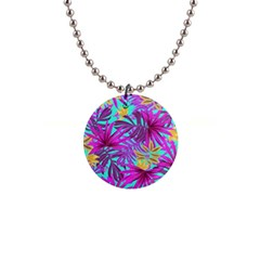 Tropical Pink Leaves 1  Button Necklace