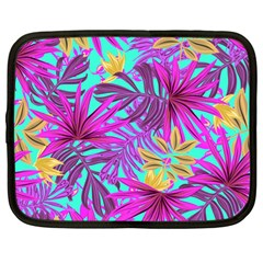 Tropical Pink Leaves Netbook Case (large)